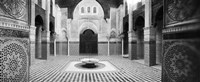 Interiors of a medersa, Medersa Bou Inania, Fez, Morocco (black and white) Fine Art Print