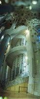 "Interiors of a church designed by Catalan architect Antonio Gaudi, Sagrada Familia, Barcelona, Catalonia, Spain by Panoramic Images - 9"" x 27"""