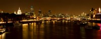 View of Thames River from Waterloo Bridge at night, London, England Fine Art Print