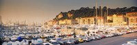 Port of Nice lined by old houses and filled with new yachts, Nice, Alpes-Maritimes, Provence-Alpes-Cote d'Azur, France Fine Art Print