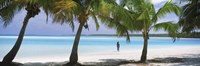 """Woman in sarong on the beach, One Foot Island, Aitutaki, Cook Islands by Panoramic Images - 27"""" x 9"""""""