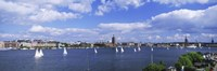 """Sailboats in a lake with the city hall in the background, Riddarfjarden, Stockholm City Hall, Stockholm, Sweden by Panoramic Images - 27"""" x 9"""" - $28.99"""