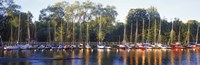 "Sailboats moored at a dock, Langholmens Canal, Stockholm, Sweden by Panoramic Images - 27"" x 9"" - $28.99"