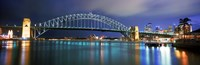 Sydney Harbour Bridge with the Sydney Opera House in the background, Sydney Harbor, Sydney, New South Wales, Australia Fine Art Print