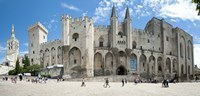"""People in front of a palace, Palais des Papes, Avignon, Vaucluse, Provence-Alpes-Cote d'Azur, France by Panoramic Images - 27"""" x 9"""""""