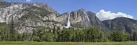 Panoramic view of Yosemite Falls and the Yosemite meadow in late spring, Yosemite National Park, California, USA Fine Art Print