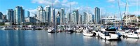 Boats at marina with Vancouver skylines in the background, False Creek, British Columbia, Canada Fine Art Print