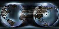 """Two sides of earths made of digital circuits by Panoramic Images - 27"""" x 9"""", FulcrumGallery.com brand"""