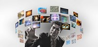 """Man surrounded by imagery by Panoramic Images - 27"""" x 9"""""""