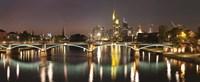 "Bridge across a river, Ignatz Bubis Bridge, Main River, Frankfurt, Hesse, Germany by Panoramic Images - 27"" x 9"""
