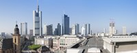 """City skyline with St. Catherine's Church from over the rooftop of the Cathedral Museum, Frankfurt, Hesse, Germany by Panoramic Images - 27"""" x 9"""""""