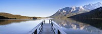 """Jetty on the Lake Eibsee with Wetterstein Mountains and Zugspitze Mountain, Bavaria, Germany by Panoramic Images - 27"""" x 9"""""""