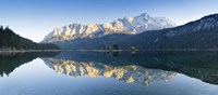 """Wetterstein Mountains and Zugspitze Mountain reflecting in Lake Eibsee, Bavaria, Germany by Panoramic Images - 27"""" x 9"""""""