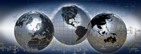 Three globes with electronic diagram Fine Art Print