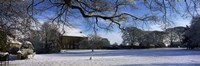 """Snow covered village, Crakehall, North Yorkshire, England by Panoramic Images - 27"""" x 9"""""""