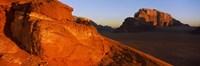 Sand dunes in a desert, Jebel Um Ishrin, Wadi Rum, Jordan Fine Art Print
