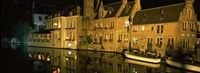 """Houses at the waterfront, Bruges, Flanders, Belgium by Panoramic Images - 27"""" x 9"""", FulcrumGallery.com brand"""
