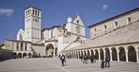 "Tourists at a church, Basilica of San Francesco D'Assisi, Assisi, Perugia Province, Umbria, Italy by Panoramic Images - 27"" x 9"""