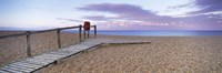 """Boardwalk on the beach at dawn, Chesil Beach, Jurassic Coast, Dorset, England by Panoramic Images - 27"""" x 9"""", FulcrumGallery.com brand"""