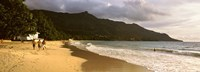 """People walking along the Beau Vallon beach, Mahe Island, Seychelles by Panoramic Images - 27"""" x 9"""""""