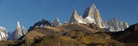 "Low angle view of mountains, Mt Fitzroy, Cerro Torre, Argentine Glaciers National Park, Patagonia, Argentina by Panoramic Images - 27"" x 9"", FulcrumGallery.com brand"