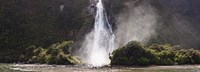 "Waterfall at Milford Sound, Fiordland National Park, South Island, New Zealand by Panoramic Images - 27"" x 9"""