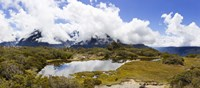 "Clouds over mountains, Key Summit, Fiordland National Park, South Island, New Zealand by Panoramic Images - 27"" x 9"""