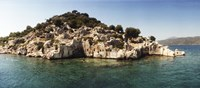 "Rocky island in the Mediterranean sea, Sunken City, Kekova, Antalya Province, Turkey by Panoramic Images - 27"" x 9"""
