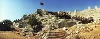 "Byzantine castle of Kalekoy with a Turkish national flag, Antalya Province, Turkey by Panoramic Images - 27"" x 9"", FulcrumGallery.com brand"