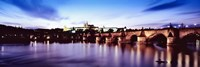 "Arch bridge across a river with a cathedral, St. Vitus Cathedral, Hradcany Castle, Vltava river, Prague, Czech Republic by Panoramic Images - 27"" x 9"""