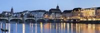 Bridge across a river with a cathedral, Mittlere Rheinbrucke, St. Martin's Church, River Rhine, Basel, Switzerland Fine Art Print