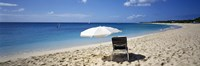 "Single Beach Chair And Umbrella On Sand, Saint Martin, French West Indies by Panoramic Images - 36"" x 12"""