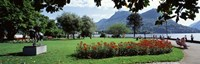 """Park near Lake Lugano bkgrd MT Monte Bre canton Ticino Switzerland by Panoramic Images - 36"""" x 12"""""""