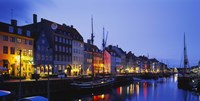 """Buildings lit up at night, Nyhavn, Copenhagen, Denmark by Panoramic Images - 36"""" x 18"""""""