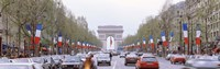 """Traffic on a road, Arc De Triomphe, Champs Elysees, Paris, France by Panoramic Images - 36"""" x 12"""""""