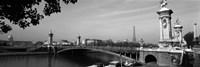 Pont Alexandre III, Seine River, Paris, Ile-de-France, France (black and white) Fine Art Print