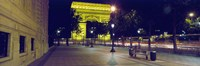 """France, Paris, Arc de Triomphe lit up at night by Panoramic Images - 36"""" x 12"""""""