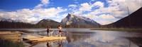 Mountain Bikers Vermilion Lakes Alberta Canada Fine Art Print