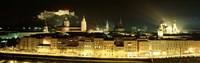 "Cityscape night Salzburg, Austria by Panoramic Images - 36"" x 12"""