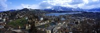 High angle view of a city, Chateau Gutsch, Lucerne, Switzerland Fine Art Print