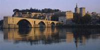"""Reflection of a palace on water, Pont Saint-Benezet, Palais Des Papes, Avignon, Provence, France by Panoramic Images - 36"""" x 12"""""""