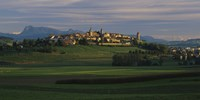 """Houses on a hill, Romont, Switzerland by Panoramic Images - 36"""" x 12"""""""