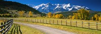 """Fence along a road, Sneffels Range, Colorado, USA by Panoramic Images - 36"""" x 12"""""""