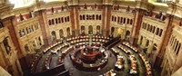 """High angle view of a library reading room, Library of Congress, Washington DC, USA by Panoramic Images - 36"""" x 12"""", FulcrumGallery.com brand"""
