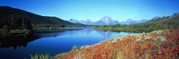 """Reflection of mountain in a river, Oxbow Bend, Teton Range, Grand Teton National Park, Wyoming, USA by Panoramic Images - 36"""" x 12"""""""