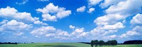 Cumulus Clouds With Landscape, Blue Sky, Germany Fine Art Print