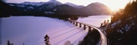 """High angle view of a bridge across a lake, Sylvenstein Lake, Bavaria, Germany by Panoramic Images - 36"""" x 12"""""""