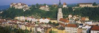 "High angle view of buildings in a town, Salzach River, Burghausen, Bavaria, Germany by Panoramic Images - 36"" x 12"""