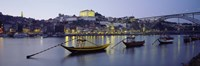 Boats In A River, Douro River, Porto, Portugal Fine Art Print