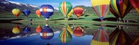 Reflection Of Hot Air Balloons On Water, Colorado, USA Fine Art Print